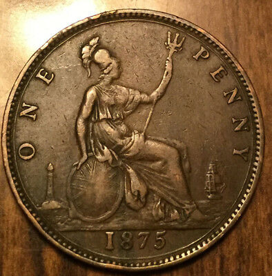 1875 UK GB GREAT BRITAIN VICTORIA ONE PENNY - A very very nice one!