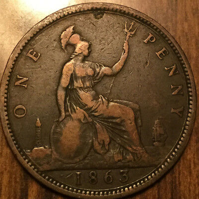 1863 UK GB GREAT BRITAIN VICTORIA ONE PENNY - A nicer one!