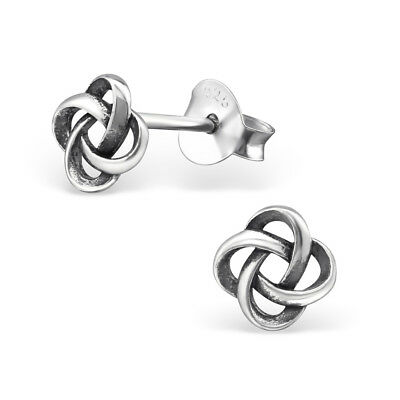 Sterling Silver 925 Celtic Knot Round Stud Earrings
