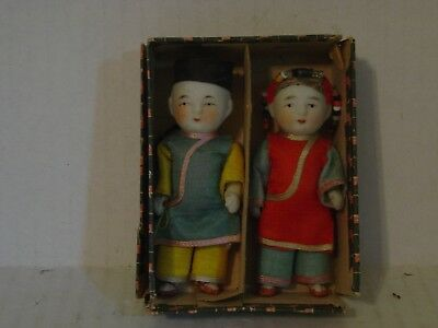 Vintage Pair Of Porcelain Small Boy Dolls In Original Box
