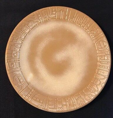 Vintage Frankoma Mayan-Aztec Desert Gold Plate~Ada Clay~ Incised Mark