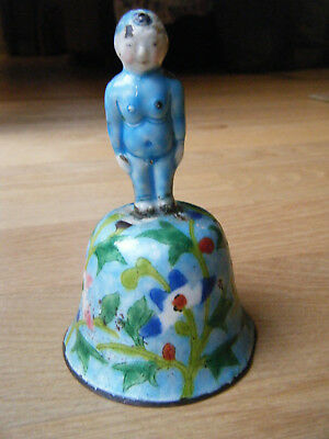 1930s Chinese Enamel Bell on Silver Metal w/ Clapper Figurative Handle, Stamped