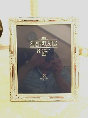 """SILVER PLATED 20 x 25cm (8 x 10"""") FLORAL PATTERNED PHOTOGRAPH FRAME  1360396/402"""