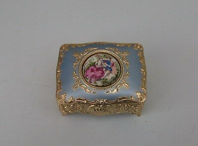 Beautiful Old Japanese Metal Trinket Box. Blue Lid with Limoge Style Centerpiece