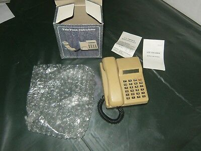TeleTime Vintage VTG Calculator And Clock in shape of a Small Telephone In Box