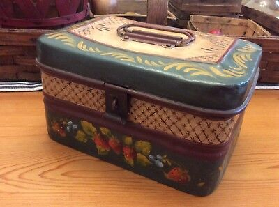 Vintage Hand Painted Tole Decorated Document Box, G E M, Germany, Folk Art