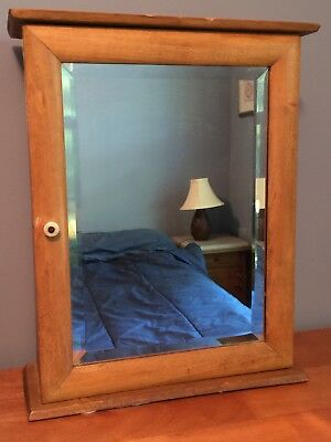 Antique vintage Wood Medicine Cabinet, Beveled Mirror Door, Shelves, 17x14x5