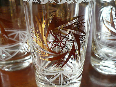 4 Mid-Century Etched Glasses MCM Barware Dominion Glass Gold Eight Pointed Stars