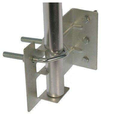 "Mounting Bracket for Outdoor TV Antenna Mast, fits 1"" Pipe, for Wood or Concrete"