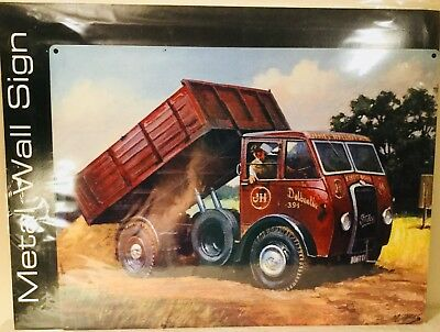 Metal Wall Sign Foden Vintage Lorry Tippertruck - Ideal For Man Cave Shed 12X16