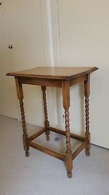 Quality Antique Golden Oak Occasional Table ~ Side Table , Barley Twist legs.