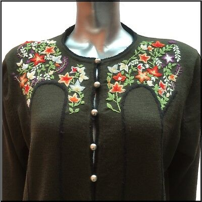 Rare Beautiful Vintage Hippie Cardigan Olive Hand Embroidered 100% Wool XL UK 20