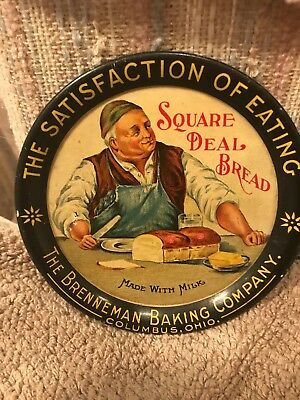 Antique Square Deal Bread Advertising Tip Tray Beautiful Graphics Excellent