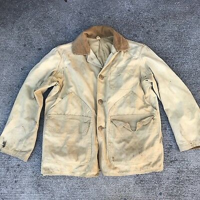 VTG 50s JC Higgins canvas hunting Jacket Cotton Sears Roebuck workwear Large