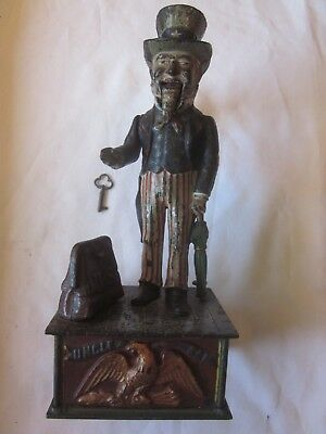 Antique Cast Iron Uncle Sam Mechanical Bank - Bank Is Old & Original, With Key
