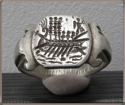 ** GALLEY **Ancient Silver Legionary Roman Ring **AMAZING **