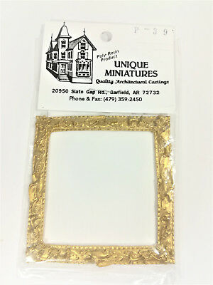 Dollhouse Miniature Large Square Ornate Gold Picture Frame with Birds 1:12 Scale