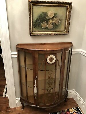 Antique Deco English Display Cabinet Glass Shelves Vintage Clock Etched Old Key