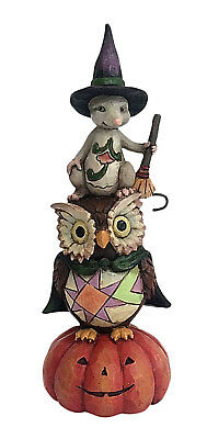 Jim Shore~Pint-Sized Stacked Pumkin, Owl, Mouse~Gather Here~Halloween~4058848