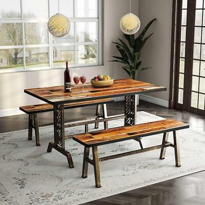 Tribesigns Dining Table with Two Benches Vintage Chic Design Kitchen Table Set