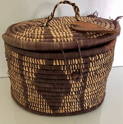 Blessing Basket Project Lid Grass Brown Natural Oval Storage Organizer Handmade