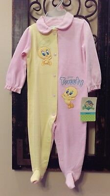 NEW Girls Baby Looney Tunes Footies - Bugs Bunny Footed Bodysuit 6 to 9 Months