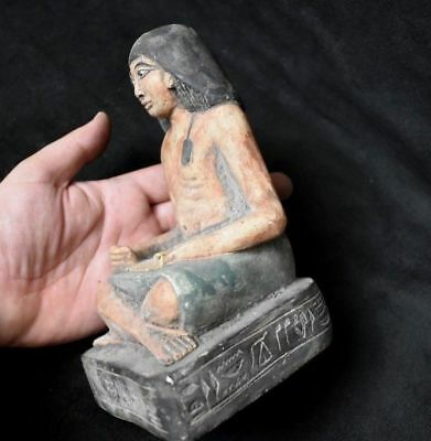 ANCIENT EGYPTIAN ANTIQUE  great Seated Squatting Scribe Statue 1500 BC
