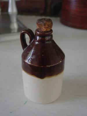 Antique Little Brown Whiskey Jug Miniature Pottery Crock  with Cork Stopper