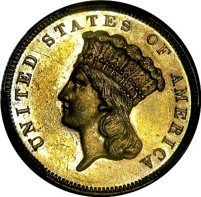 1886 $3 Gold Princess  **only 1000 Minted**   +++ Certified Pcgs Au-58 +++