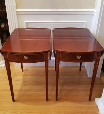 Pair Of Solid Wood Drop Leaf End Tables With Inlay By Baker Furniture