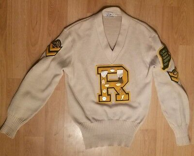 Vtg New Era 1960's R Lettermen Sweater I.H.S.A.  w/Patches Medals Illinois