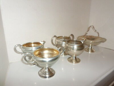 Vintage 5 pieces sterling silver 2 sugar 2 creamers & candy dish