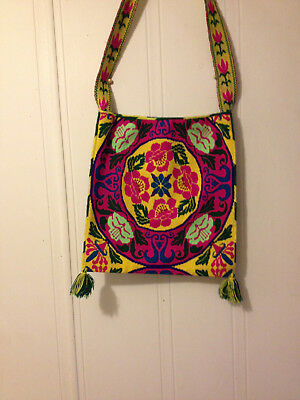 Vibrant floral embroidered Huichol bag