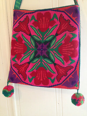 Large embroidered Huichol bag