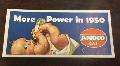 """""""More Power In 1950"""" Amco American Oil Co. Gas Ad Card W/A Baby"""