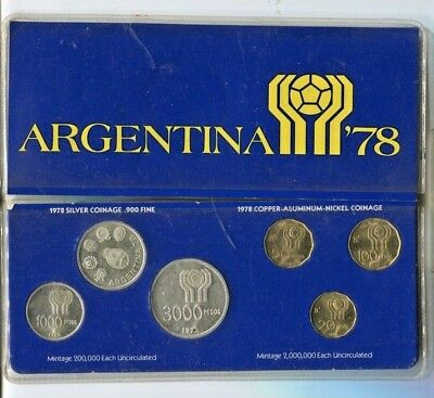 1978 Argentina Official Coin Set for the World Cup 6 coins 3 are silver Soccer