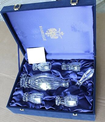 Rare Faberge Decantuer & 4 Crystal Shot Glass Set Imperial Collection w/ Case