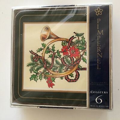 6 NEW PIMPERNEL YULETIDE HORN Cork Backed Christmas COASTERS England