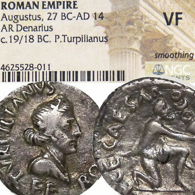Rare AUGUSTUS Lost Crassus'Standards returned Ancient Roman Silver Denarius Coin