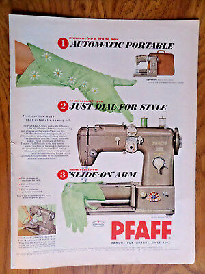 1956 Pfaff Sewing Machine Ad   Automatic Portable Just Dial for Sytle Slide Arm