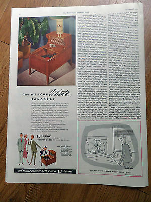 1952 The Webcor Authentic Fonograpf Ad New Concept in Phonographs