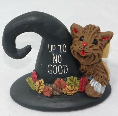 Yorkshire Terrier Fall Autumn Up Yorkie Figurine Up to No Good Pup Collectible
