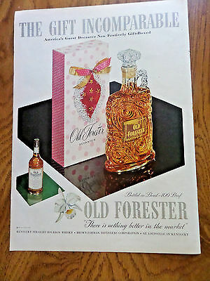 1953 Old Forester Whiskey Ad Guest Decanter & Gift-Boxed