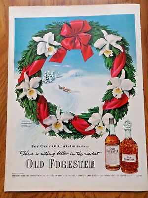 1951 Old Forester Whiskey Ad Winter Wreath Horse Christmas Theme