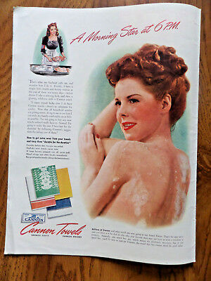 1943 Cannon Towels Ad  A Morning Star at 6 P.M.