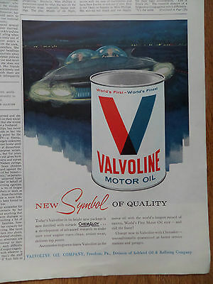 1960 Valvoline Motor Oil Ad  New Symbol of Quality Futuristic Automobile