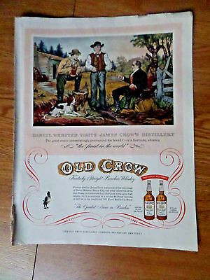 1954 Old Crow Whiskey Ad Daniel Webster Visits James Crow's Distillery