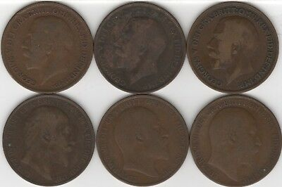 Misc Early 1900's British Pennies (6)