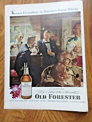 1952 Kentucky Old Forester Whiskey Ad America's Guest Whisky
