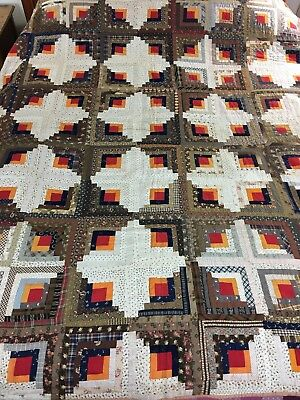 VINTAGE HANDMADE SUNSHINE & SHADOW LOG CABIN QUILT C. Late 1800s GREAT COLORS
